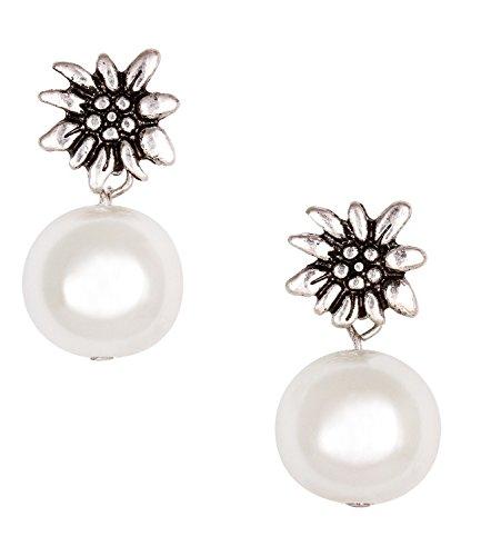SIX Hängende Ohrringe, mit weißer Kunstperle und Edelweiß-Blüte verziert, Oktoberfest, Kostüm, Fasching, Karneval (443-299)