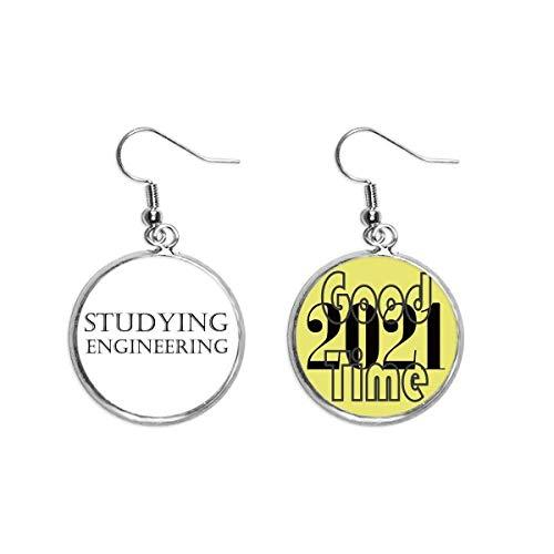 Ohrringe mit kurzem Spruch zum Studieren, Ingenieurwesen, Ohranhänger, Schmuck, 2021 Viel Glück