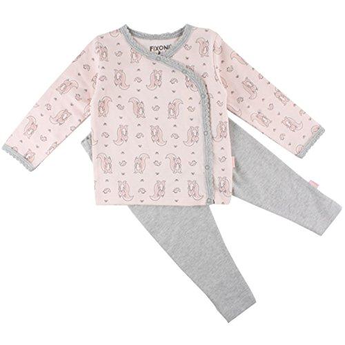 Fixoni Mädchen Baby- und Kinder Schlafanzug 2-teilig, 100% Baumwolle, Rosé-Grau meliert, Gr. 80, Dear Nightset Pearl 32804 20-22