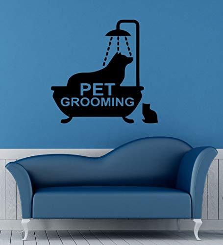Huisdier Grooming Vinyl Muursticker Dier Hond in Bad Huisdier Groomin Teken Mural Art Muursticker Huisdier Salon Huisdier Shop 85.5x85.5cm