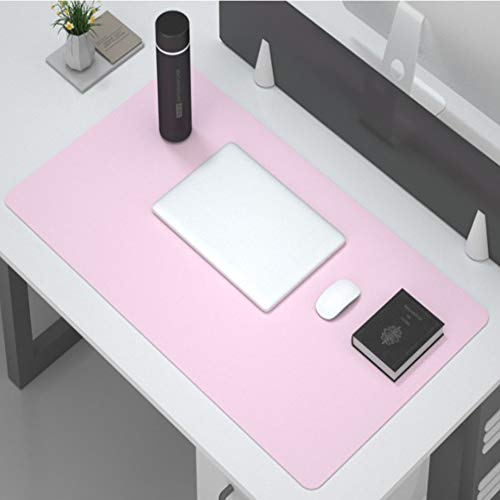 Multifunctional Desk Pad,Pu Leather Desk Pad Large Mouse Pad Non Slip Desk Mat Laptop Desk Pad Waterproof Desk Writing Pad for Office Home Work-Pink and Silver 70x35cm(28x14inch)