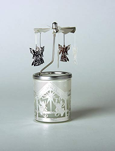 Kerzenfarm Hahn Glaskarussell Teelichthalter Windlicht 84343 Motiv Engel Größe 16 x 6 x 6 cm Glaskarussel, Glas, Silber, 6 cm