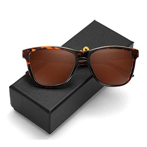 KEAKUO Gafas de sol para hombre, polarizadas, retro, gafas de sol para mujer y hombre, polarizadas, con degradado de color, protección UV400 polarizada HD K1805 (Leopard-Brown, 60)