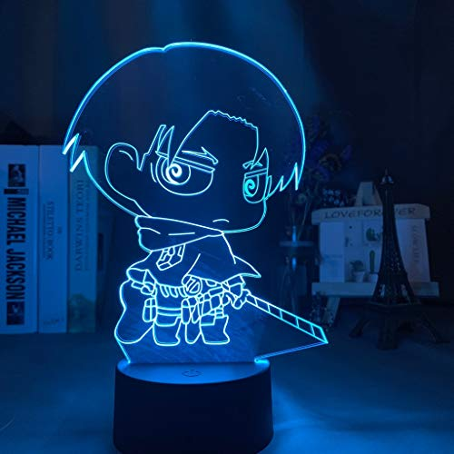 3D Night Light Attack on Titan Levi Ackerman Chibi Figure Nightlight for Home Decoration Light Colorful Battery Night Lamp Gift