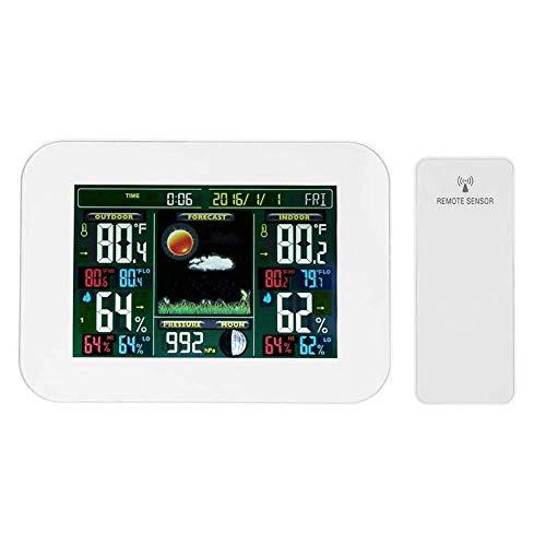 HOOBBI Funk-Wetterstation Taktgeber-Digital-Thermometer-Hygrometer Innen/Außen-Temperatur-Feuchtigkeits Max/Min Aufzeichnungen Wettervorhersage Snooze Wecker