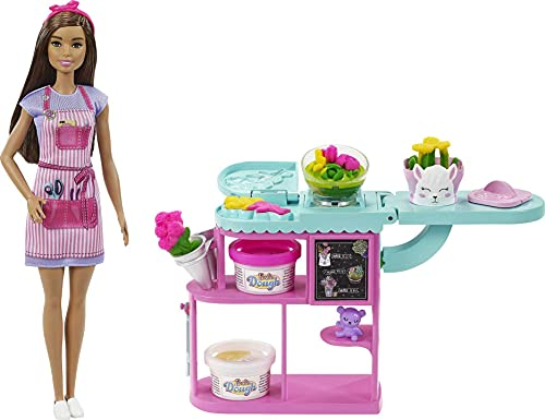 Barbie Florist Playset with 12-in Brunette Doll, Flower-Making Station, 3 Doughs, Mold, 2 Vases & Teddy Bear, Great Gift for Ages 3 Years Old & Up