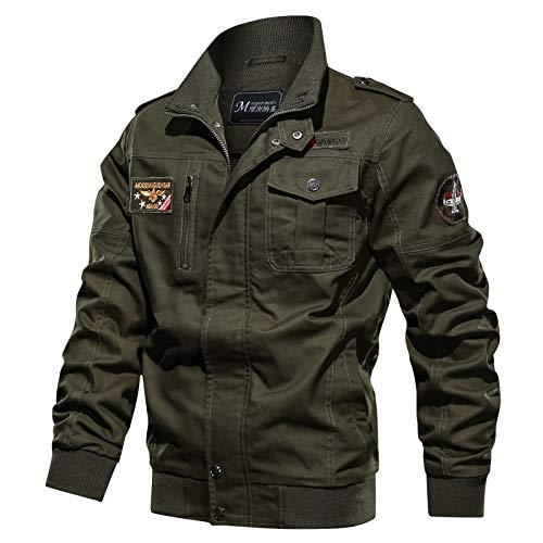 LSSM Winter Stand Collar Workwear Jacket Men's Large Size Loose Casual Flight Jacket Military Thicken Cotton Coat Unisex Waterproof Leisurewear Outdoors Walking Windproof Green XXL
