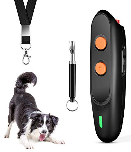 Ultrasonic Dog Bark Deterrent - Rechargeable Bark Control Device - Dog Barking Deterrent Devices - Dog Behavior Training Tool Control Devices of 16.4 Ft Effective Control Range with LED Indicator