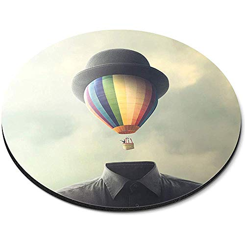 Ronde muismat - Hot Air Balloon Man Idee Concept Office Gift