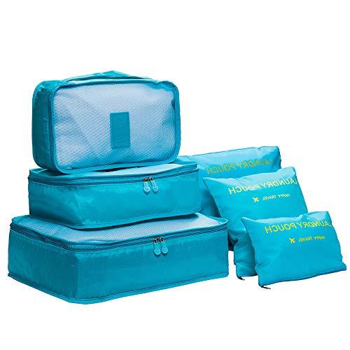 DoGeek Organizador de Equipaje 6 en 1 Set Viaje con Bolsa de Zapato, Impermeable Organizador de Maleta Bolsa para Ropa Sucia de Viaje, Material Nylon (Azul)