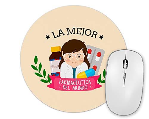 Planetacase Alfombrilla De Ratón La Mejor Farmacéutica del Mundo Regalo Original Farmacia Forma Redonda 20 Cm