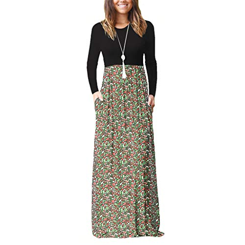 Franterd Womens Christmas Dresses with Pockets Casual Long Sleeve Xmas Print Round Neck Party Maxi Dress Plus Size Green