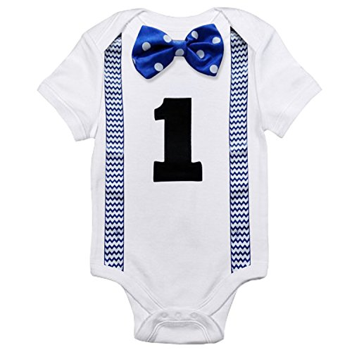 NNJXD Baby Boys' Funny First Birthday Bow Tie Infant Romper Bodysuit Size (1 Years) Point Blue