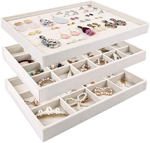 Mebbay Stackable Velvet Jewelry Trays Organizer Jewelry Storage Display Trays All Velvet for Drawer Earring Necklace Bracelet Ring Organizer Set of 3 Creamy White
