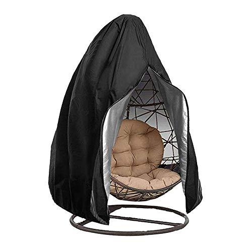 Housse de Fauteuil Suspendu Jardin en Oxford 210D Bâche de Chaise à œufs Imperméable Anti-UV/Vent Couverture de Protection pour Chaise de Patio Extérieur (115x190cm, Noir)