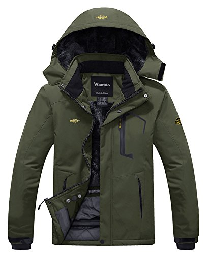Wantdo Men's Winter Hooded Ski Jacket Coat Waterproof Warm Parka Army Green S