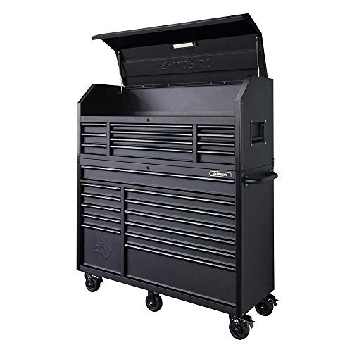 Husky 56 in. 23-Drawer Tool Chest and Rolling Cabinet Set 18 Ga. Steel 22 in. D, Textured Black...