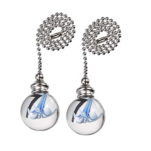 Penck Decorative Ceiling Light Fan Pull Chains Ornament 12 inches Pullchain Gorgeous Hanging Pendants Crystal Glass with Blue Flower Ball Pull Chain for Ceiling Lights, Fans, Pack of 2