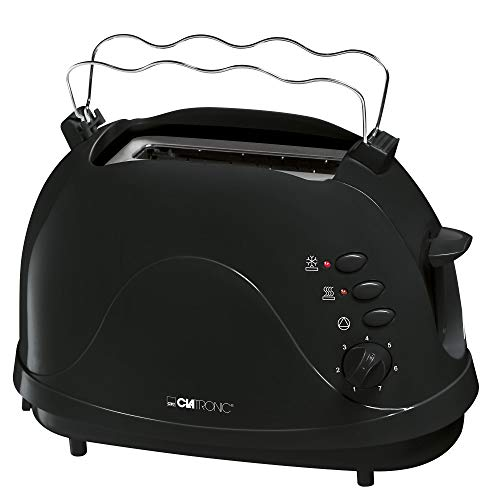 Clatronic TA 3565 2-Scheiben-Toaster, Cool-Touch Gehäuse, integrierter Brötchenaufsatz, Aufwärmfunktion, Auftaufunktion, Schnellstoppfunktion, schwarz