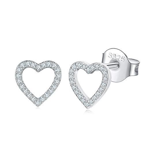 Shuxin Silver Stud Earrings for Women, 925 Sterling Silver Heart Stud Earrings for Girls Ladies, Hypoallergenic Small Sleeper Cartilage Tragus Studs Earrings, 8mm Sterling Silver Stud Earrings
