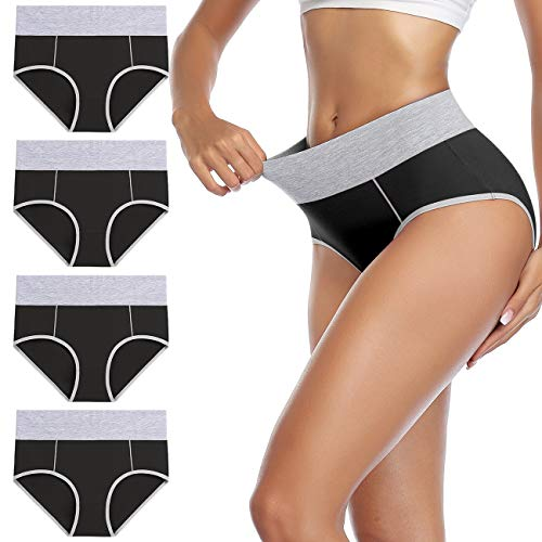 wirarpa Unterhosen Damen Unterwäsche Baumwolle Taillenslip Hohe Taille Slips Schwarz 4er Pack Größe L
