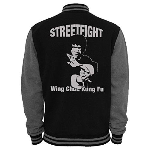 Streetfight 2-Tone College-Jacke Bruce Wing Chun Kung Fu Lee - Schwarz-Grau L
