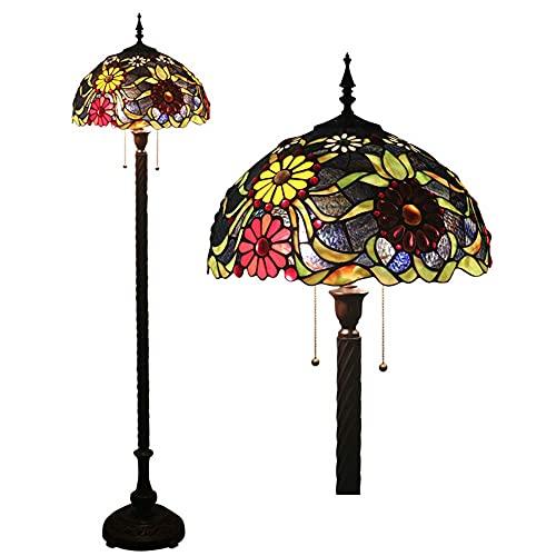 FFAN Lámpara de pie con diseño de crisantemo Multicolor Estilo Tiffany, lámpara de pie con Cable de tracción y 2 Luces de 16 Pulgadas, lámpara de pie con iluminación de Vidrio teñido a Mano Good Life
