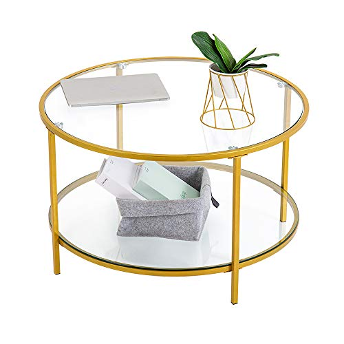 """Bonnlo Round Coffee Table, 31.5"""" Gold Coffee Table Tempered Glass Coffee Table with Storage, 2-Tier Coffee Table for Living Room, Reception Room, Cocktail Table, Elegant and Sturdy, Metal Frame, Gold"""