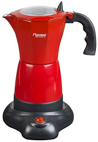 Bestron Elektrischer Espresso-Kocher mit Basis, Viva Italia, Für 6 Espressotassen: 180 ml, 480 Watt, Aluminium, Rot
