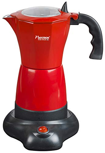 Bestron Cafetera Eléctrica para Expreso, Viva Italia, Para 6 Tazas: 180 ml, 480 W, Aluminio, Rojo