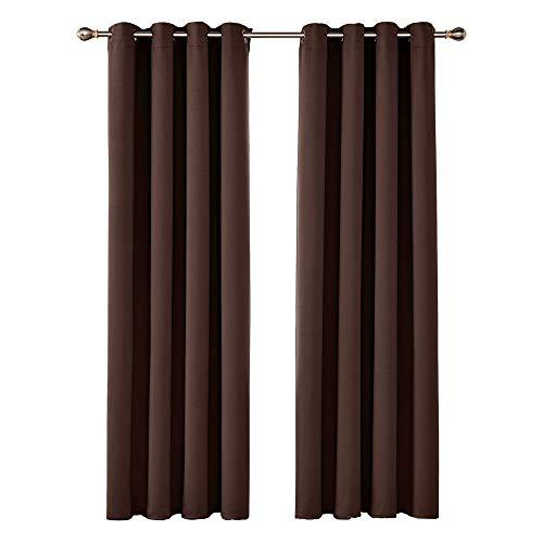 Amazon Brand – Umi Cortinas Opacas de Salón Decoración para Habitación Dormitorio Moderno Suaves 2 Piezas con Ojales 140 x 240 cm Chocolate