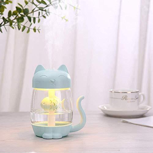 Humidificador de Plantas 350ML Humidificador de Aire para Gatos con luz LED de Color Ultrasónico 3 en 1 Adorable Cat Eat Fish Humidificador USB Difusor de Aromas Nebulizador (Color: Azul)