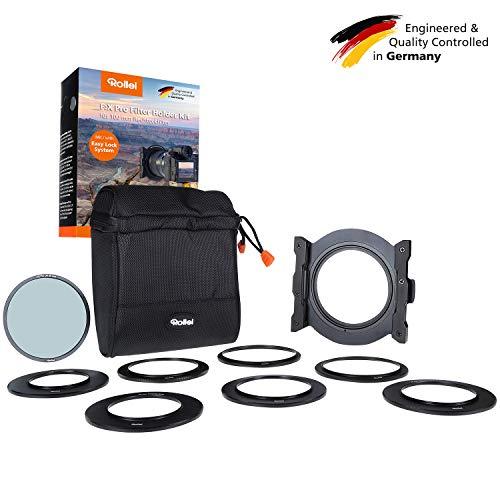 Rollei F:X Pro Filterhalter Set I Steckfiltersystem für 100mm Rechteckfilter I Filter Halterung inkl. Adapterringe 52-82mm und F:X Pro CPL Polfilter