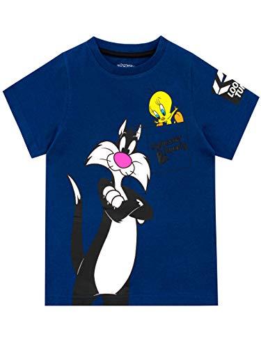 Looney Tunes Maglietta Maniche Corta per Ragazzi Sylvester e Tweety Blu 3-4 Anni