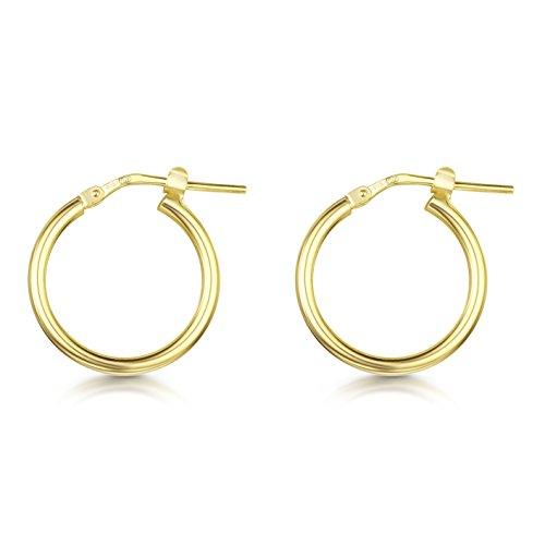 Amberta 925 Sterling Silber - Vergoldet 18K - Edle Ringe mit Scharnierbügel – Kleine Runde Creolen Ohrringe - Durchmesse: 15 mm