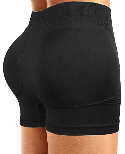 CeesyJuly Damen Padding Kolbenheber Boy Shorts Shapewear Butt Enhancer Schwarz Small