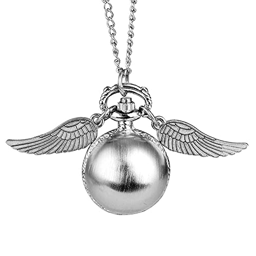 Reloj de bolsillo con forma de bola de plata antigua para mujeres, collar de aleación duradero, relojes de bolsillo con cadena para mujeres, reloj colgante de diseño de dos alas pequeñas de mo