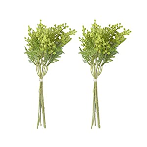Anna Homey Decor Artificial Flowers Pack of 2 Green Fake Flowers Bouquets,Three Branching Floral Arrangements Artificial for Home Decor,Plant Pots Indoor,Living Room,Coffee Table Decoration