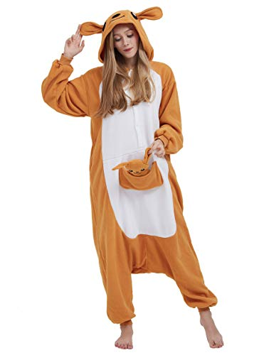 Jumpsuit Onesie Tier Karton Fasching Halloween Kostüm Sleepsuit Cosplay Overall Pyjama Schlafanzug Erwachsene Unisex Lounge, Känguru, Erwachsene Größe M - für Höhe 156-167CM