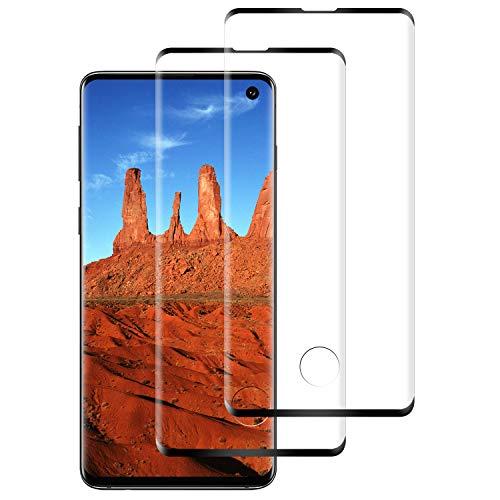 DASFOND 2 Piezas Protector Pantalla de Samsung Galaxy S10 Cristal Templado [Cobertura Completa, 9H Dureza, Alta Definicion, Alta sensibilidad, Protector de Pantalla para Samsung Galaxy S10-Negro