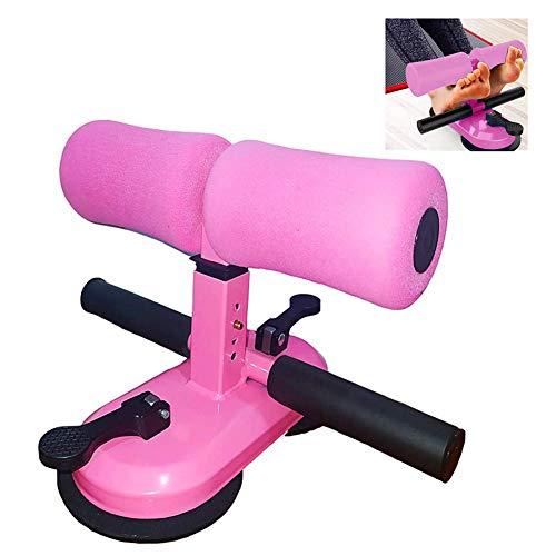 Z&HA Tragbare Sit-up-Assistent-Ausrüstung, verstellbare Stange für bodenverbesserten doppelten Saugnapf und Stange mit 4 Bauchmuskeln mit Einstellbarer Höhe,Rosa