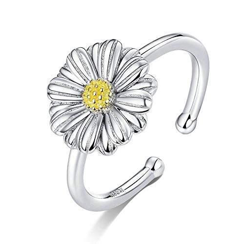 JIARU 925 Sterling Silver Ring for Women Adjusatable ring fashion simple ring and Daisy ring and Chrysanthemum rings for Girl Open Finger Ring Gift