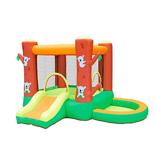 EXCLVEA Inflatable Bouncy Castle Inflatable Castle Water Slide Small Trampoline Outdoor Amusement Equipment Water Park for Courtyard Playground (Color : Orange, Size : 290x280x195cm)