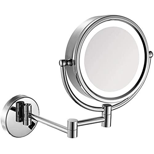 SXFYWYM Espejo Especial para Maquillaje, Espejos De Maquillaje LED De Baño De 8.5 Pulgadas, Tocador De Pared Cromado De Doble Cara, Latón Iluminado, Lupa Plegable, Plegable con Interruptor