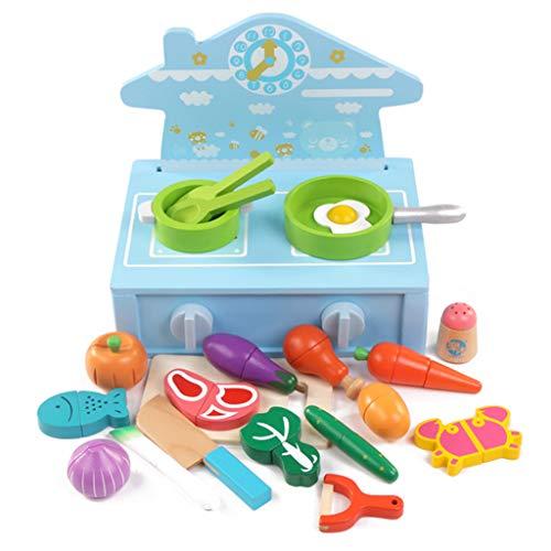 ASDG Simulazione del Fumetto Fornello Forma Kitchen Cucina Frutta Magnetico E Verdure Tagliate per Bambini di Gioco Gioca,Bluecooktop
