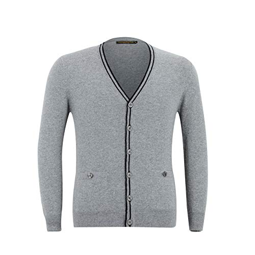 Cashmere Polo Club - Maple - Men V-Neck Cardigan with Buttons and Patch Pockets