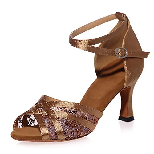 Love Shoes Zapatos De Baile Latinos De Satén para Mujer Salsa Samba Vals Sandalias De Tira De Hebilla De Metal Zapatos De Baile De Salón Suela Blanda,Marrón,36EU/5UK