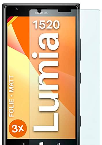 moex Schutzfolie matt kompatibel mit Nokia Lumia 1520 - Folie gegen Reflexionen, Anti Reflex Bildschirmschutz, Matte Bildschirmfolie - 3X Stück