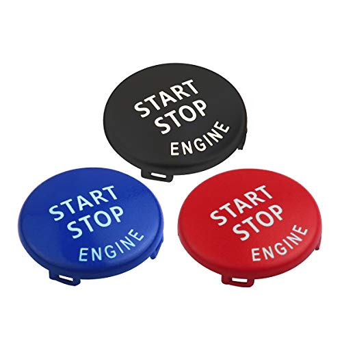 DKMUS Start Stop Button For BMW E Chassis 1 3 5 6 Series X1 X3 X5 X6 Start Stop Button Cap Engine Switch Power Ignition Replacement (Red+Blue+Black)