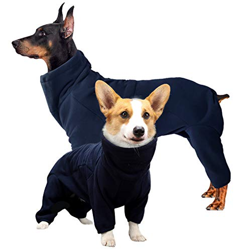 ROZKITCH Dog Winter Coat Soft Fleece Pullover Pajamas, Pet Windproof Warm Cold Weather Jacket Vest Cozy Onesie Jumpsuit Apparel Outfit Clothes for Small, Medium, Large Dogs Walking Hiking Travel Sleep